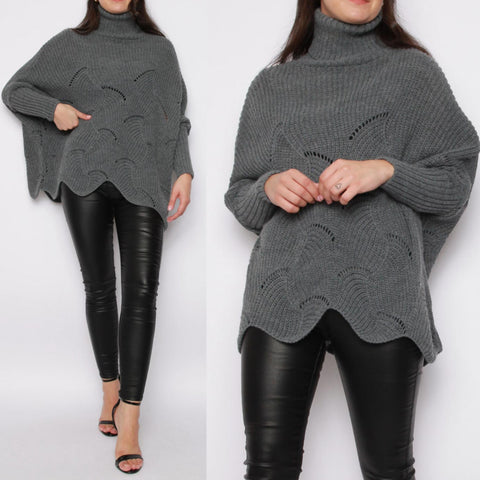 Lizzie Roll Neck Batwing Jumper - Charcoal