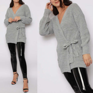 Kiki Wrap Tie Knitted Cardigan - Grey