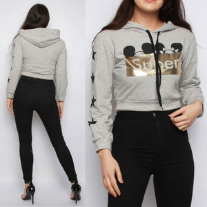Lippy Cropped Hoodie - Grey