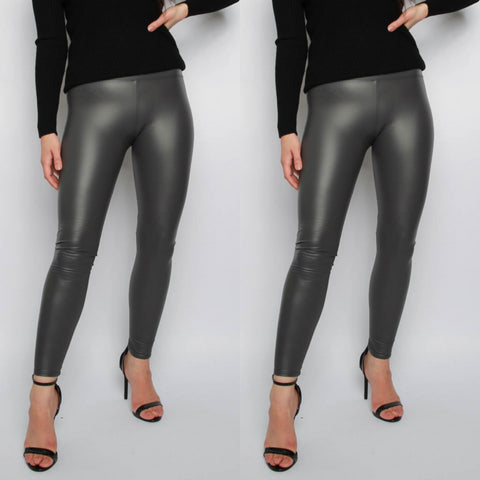 Ellie Faux Leather Leggings - Grey