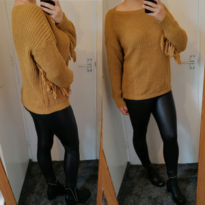 Savannah Tassel Knitted Jumper - Mustard