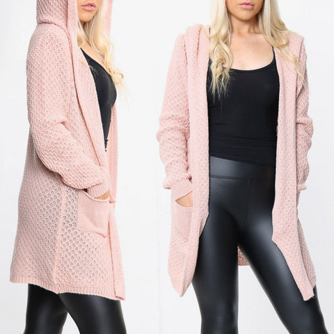 Lottie Hooded Knitted Cardigan - Pink