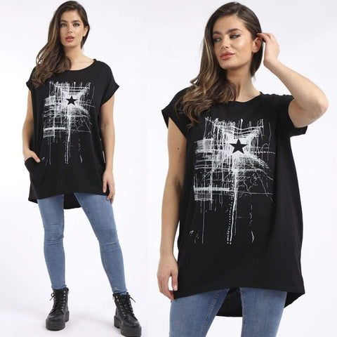 Reyna Star Print Top - Black