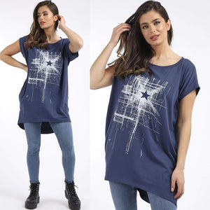 Reyna Star Print Top - Denim