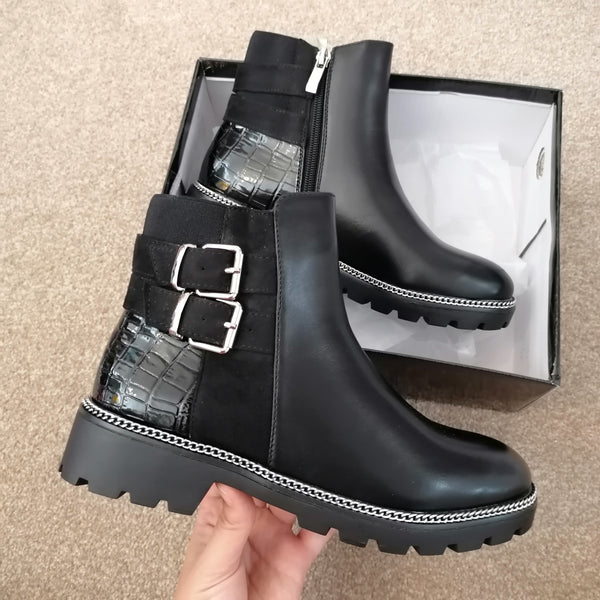 Nicky Buckle PU Boots
