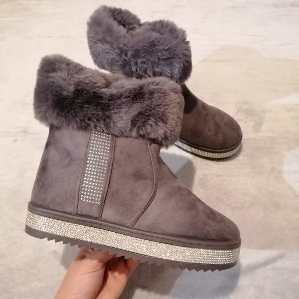 Cora Diamante Faux Fur Boots - Grey