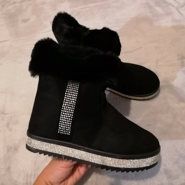 Cora Diamante Faux Fur Boots - Black