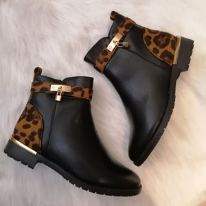 Gina Leopard Print Ankle Boots