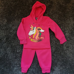 Younger Girls Unicorn Tracksuit - Hot Pink