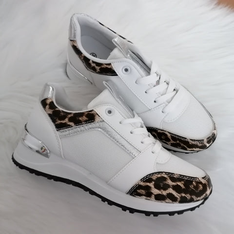 Monica Leopard Print Trainers - White