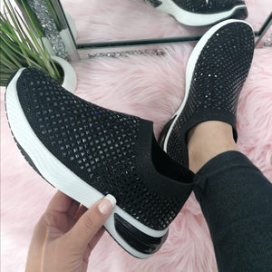 Hannah Sparkle Sock Trainers - Black