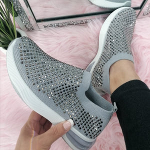 Hannah Sparkle Sock Trainers - Grey