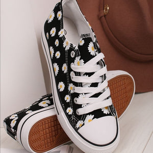 Daisy Canvas Trainers - Black