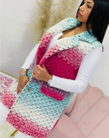 Aliza Multicoloured Crochet Gilet - Pink