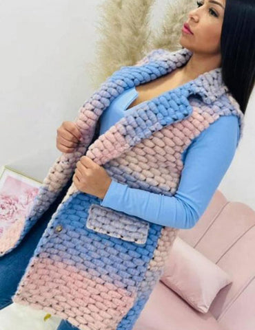 Aliza Multicoloured Crochet Gilet - Blue