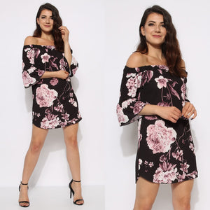 Floral Bardot Crepe Dress