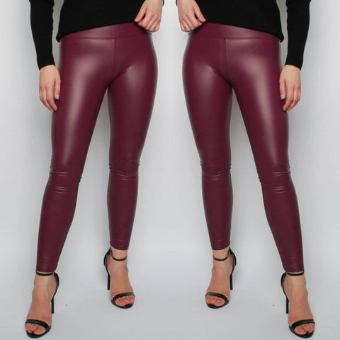 Ellie Faux Leather Leggings - Wine