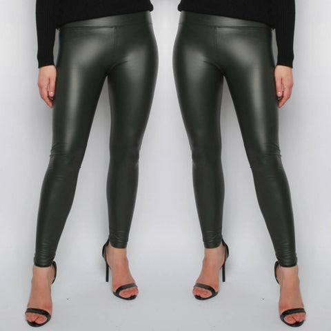 Ellie Faux Leather Leggings - Khaki