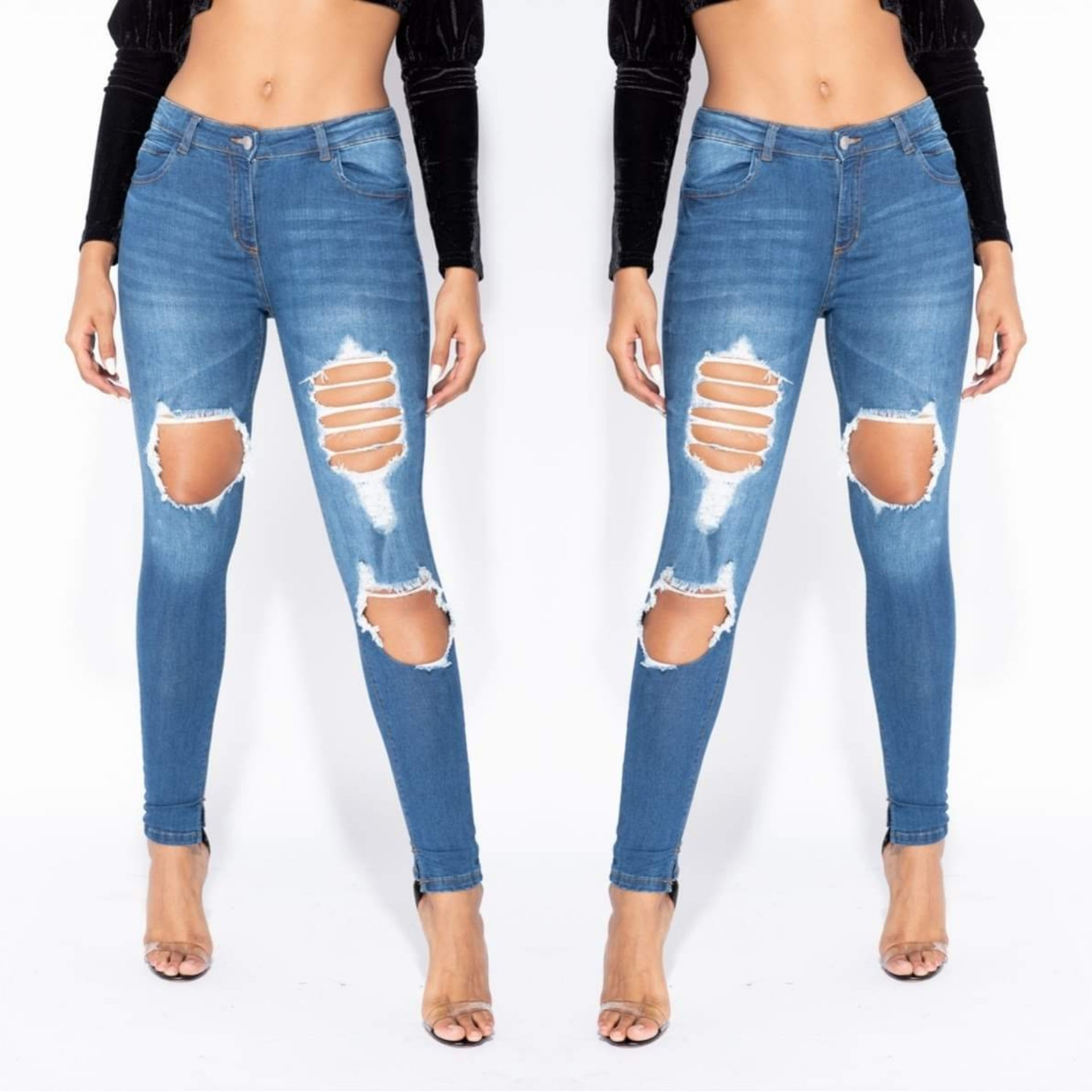 Nika Distressed Skinny Jeans - Mid Blue