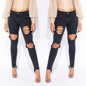 Nika Distressed Skinny Jeans - Charcoal