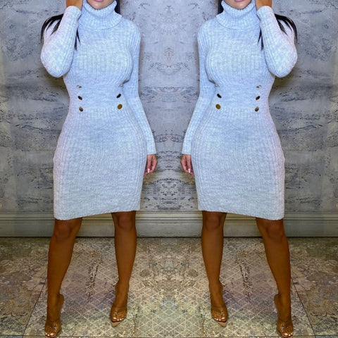Willow Knitted Jumper Dress - Grey