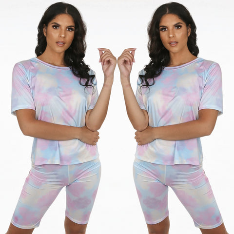 Adele Tie Dye Cycling Short & T-shirt Set