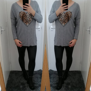 Evelyn Leopard Print Top - Grey