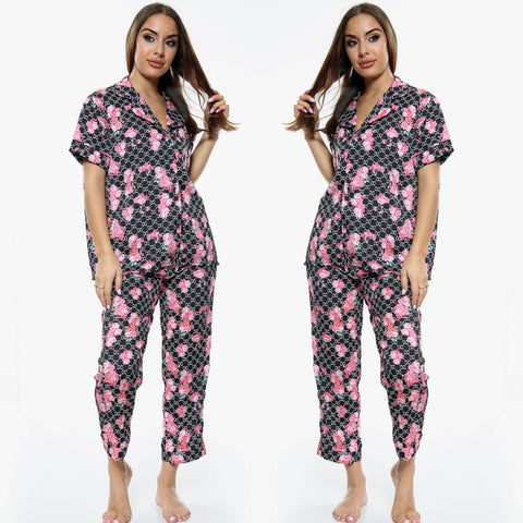 Emily Floral PJ Set - Black