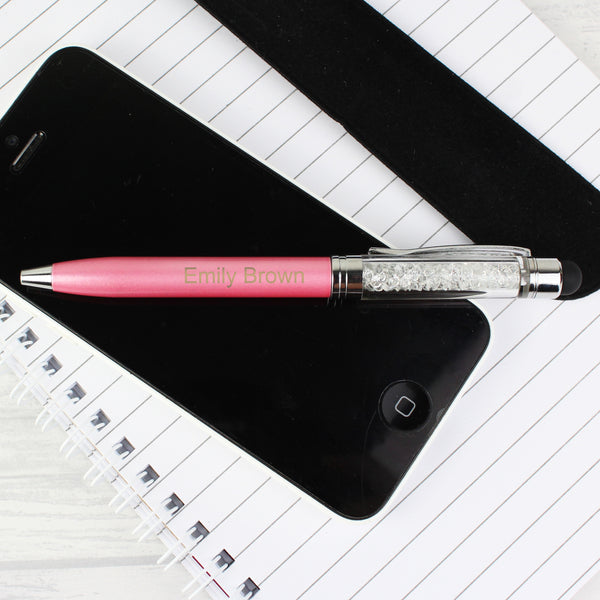 Personalised Diamante Elements Pink Pen