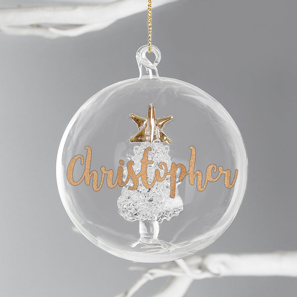 Personalised Gold Glitter Name Tree Glass Bauble
