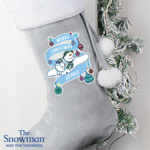 Personalised The Snowman Luxury Silver Grey Stocking