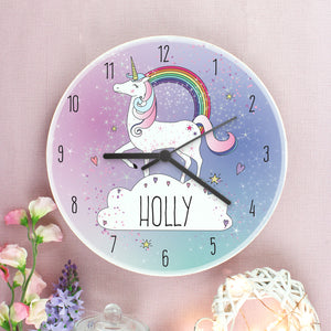 Personalised Unicorn Wooden Clock