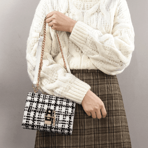 Crossbody Tweed Bag With Chain - White