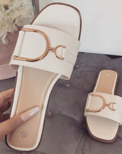 Romina Buckle Faux Leather Sandals - White