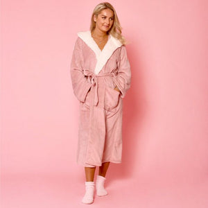 Paris Hooded Fleece Dressing Gown - Pink