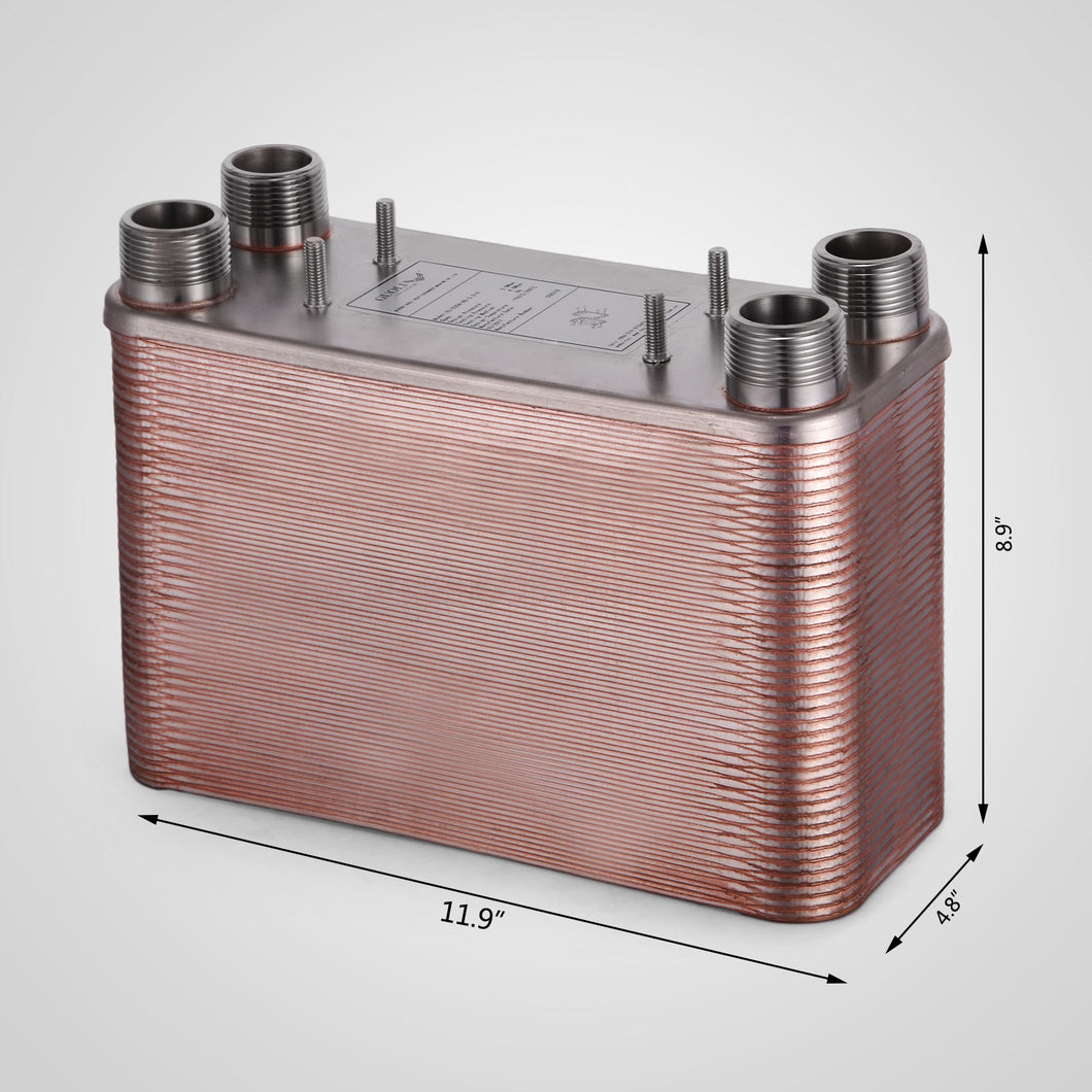 50 Plate Water to Water Brazed Plate Heat Exchanger 1 FPT Ports w/ Brackets AISI 316L Stainless Steel 5