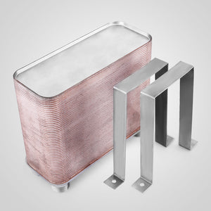 "50 Plate Water to Water Brazed Plate Heat Exchanger 1 FPT Ports w/ Brackets AISI 316L Stainless Steel 5""x12"""