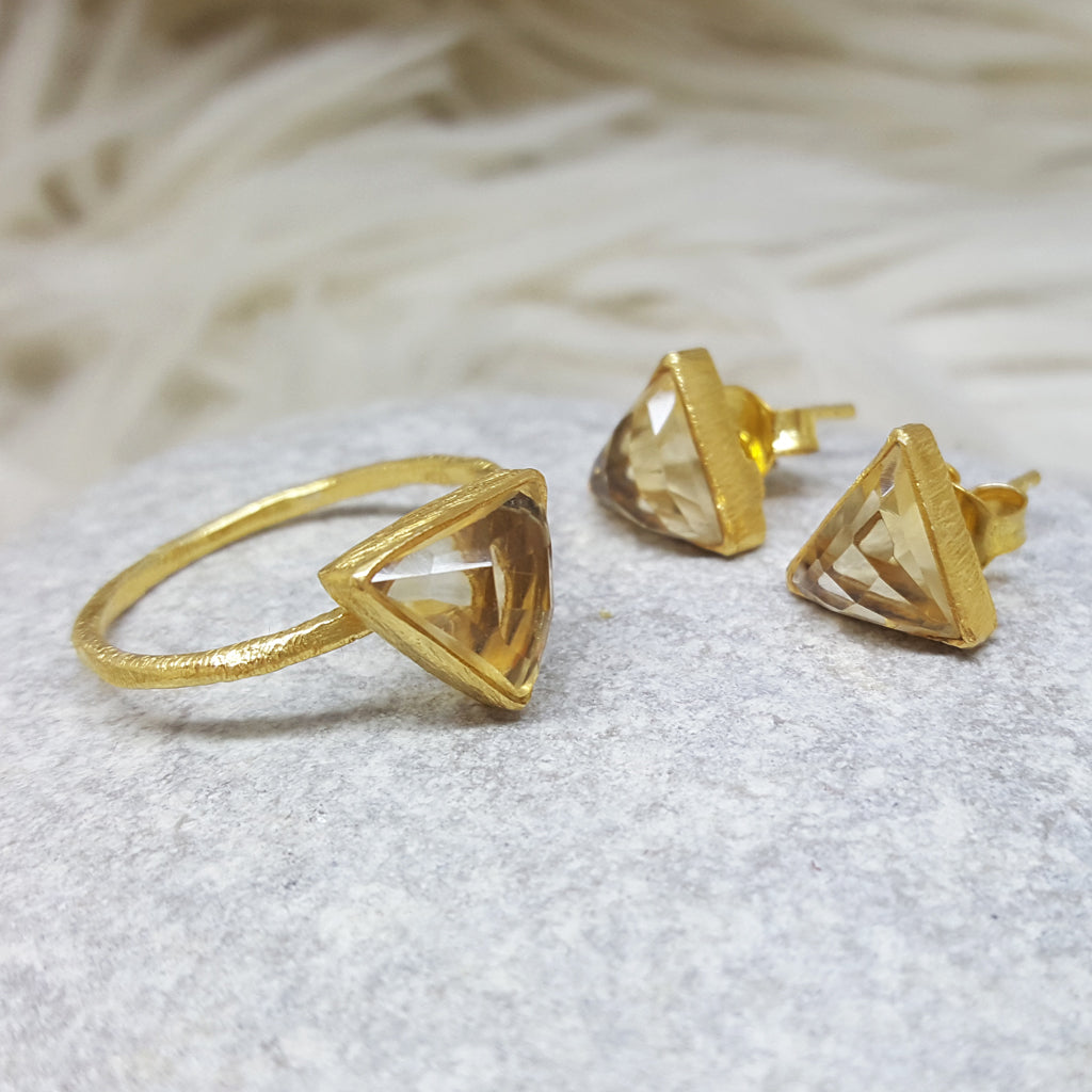 JEWELLERY SET ARROW CITRINE GOLD RING PLUS STUD EARRINGS