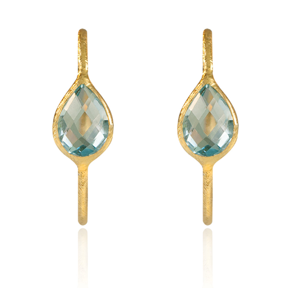 GOTA DE ORO BLUE TOPAZE GOLD STUD EARRINGS