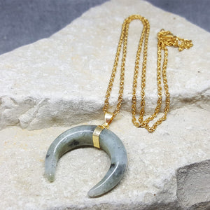 CRESCENT MOON NECKLACE LABRADORITE