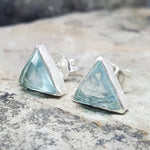 ARROW BLUE TOPAZ CZ SILVER STUD EARRINGS