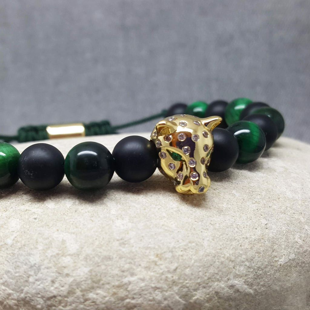 GOLD PANTHER SPIRIT GREEN ONYX BRACELET