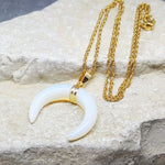 CRESCENT MOON NECKLACE OPALITE