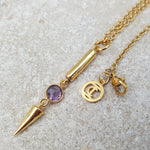 NEEDLE ICE AMETHYST GOLD NECKLACE