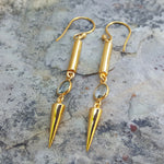NEEDLE ICE BLUE TOPAZE GOLD HOOK EARRINGS