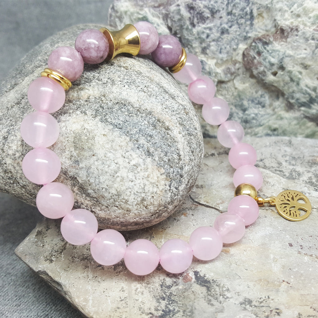ROSE QUARTZ AND ZIYUN TREE OF LIFE BEAD BRACELET