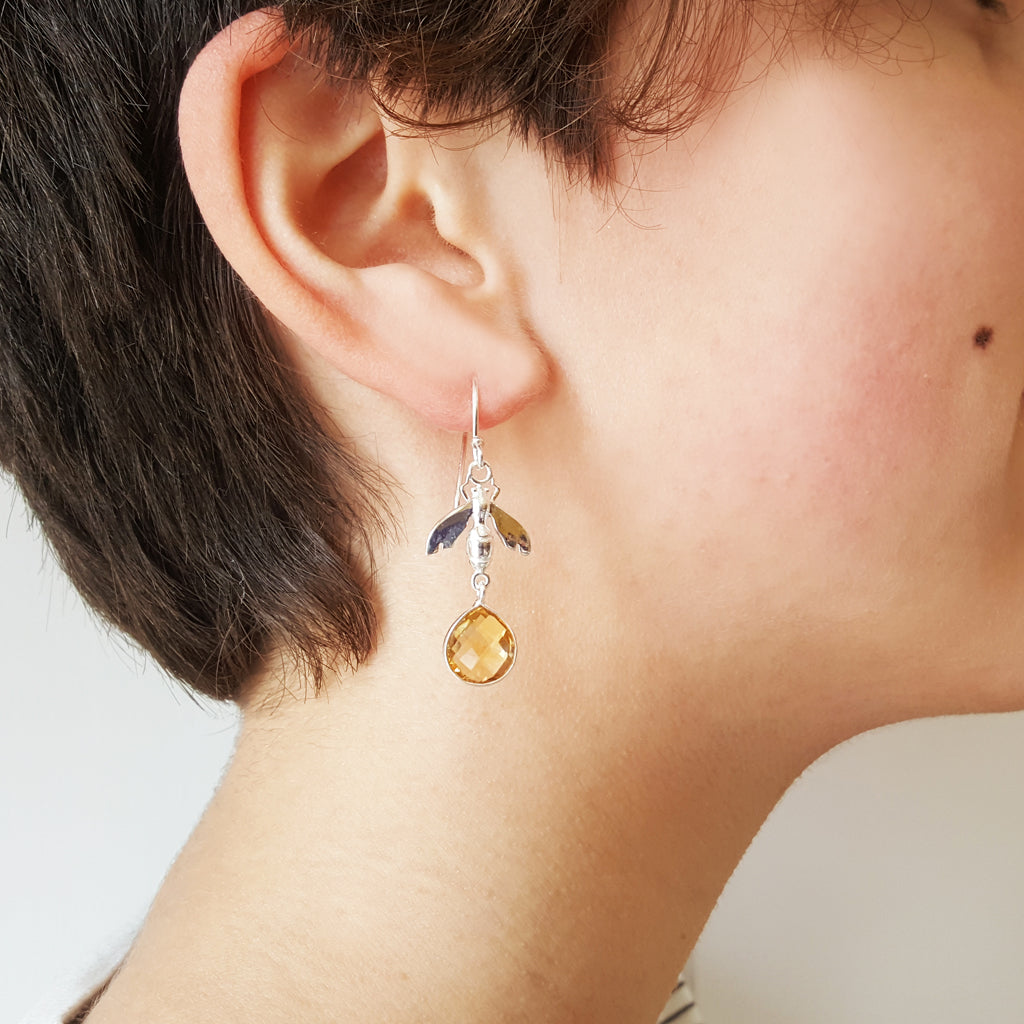 BEE CITRINE SILVER HOOK EARRINGS