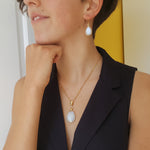 FREDA MOONSTONE GOLD NECKLACE PLUS GOTA DE ORO MOONSTONE GOLD HOOK EARRINGS