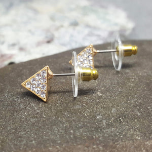 PYRAMID GOLD STUD EARRINGS