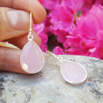 GOTA DE ORO PINK CHALCEDONY SILVER HOOK EARRINGS